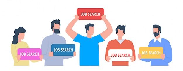 仕事探し。仕事のイラストを探している社員
