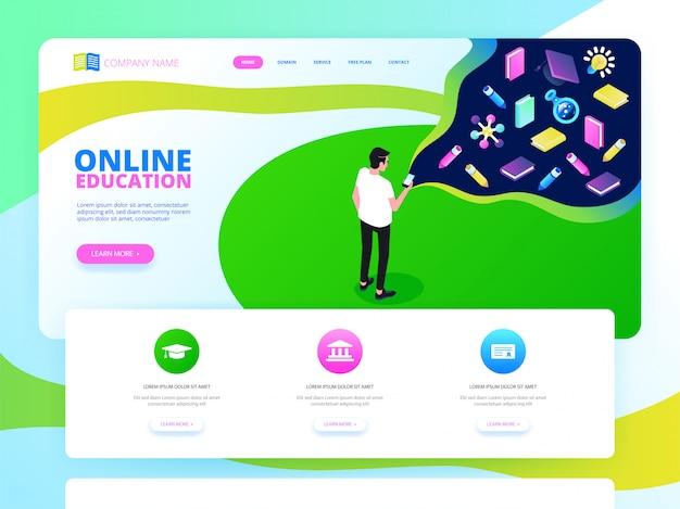Изометрическое обучение, онлайн-обучение, вебинар, целевая страница онлайн-обучения