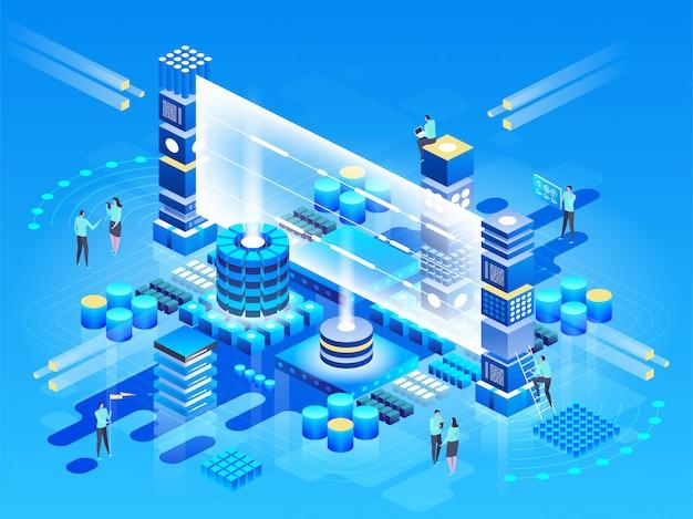 ビッグデータセンター、情報処理、データベースの計算。インターネットトラフィックルーティングの図