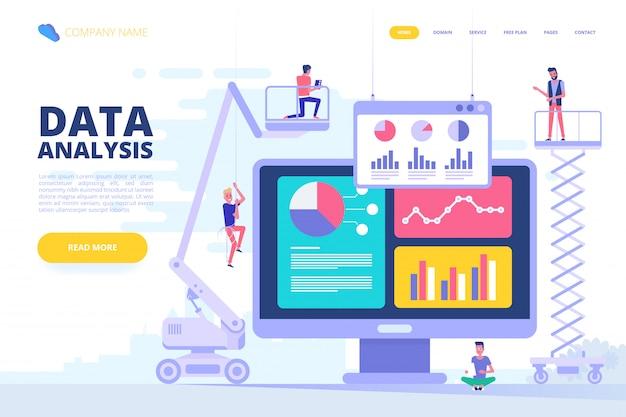 データ分析設計コンセプト。ベクトルイラスト。