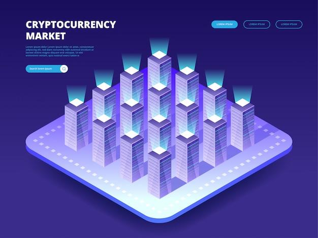 Рынок криптовалют. облачный дата-центр с хостинг-серверами. компьютерные технологии, сети и базы данных, интернет-центр.