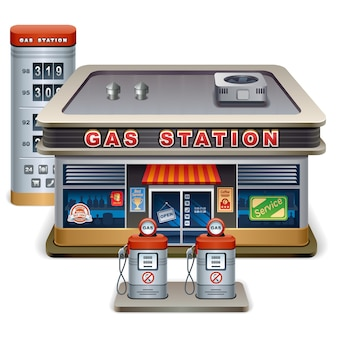 ガソリンスタンド漫画のベクトル図