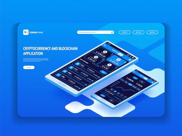 スマートフォン用の暗号通貨とブロックチェーンアプリケーション。あなたのウェブサイトのヘッダーテンプレート。ランディングページ。