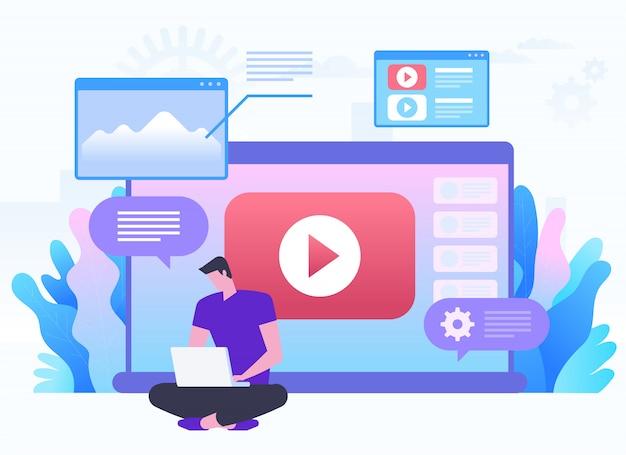 オンラインネットワーク、ブログ、ウェブメディア、ソーシャルネットワーキング、メディアコンテンツ、オンラインギャラリーのコンセプト。再生ボタン付きの大きなラップトップに座っている男。フラットイラスト