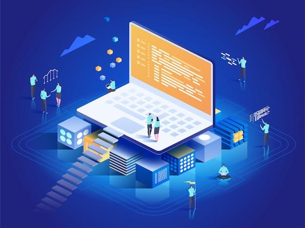 ソフトウェア、ウェブ開発、プログラミングのコンセプト。ラップトップ、チャート、統計の分析と対話する人々。ソフトウェア開発の技術プロセス。等角投影図