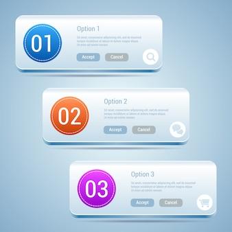 モダンなデザインのテンプレート。オプション番号、インフォグラフィック要素。