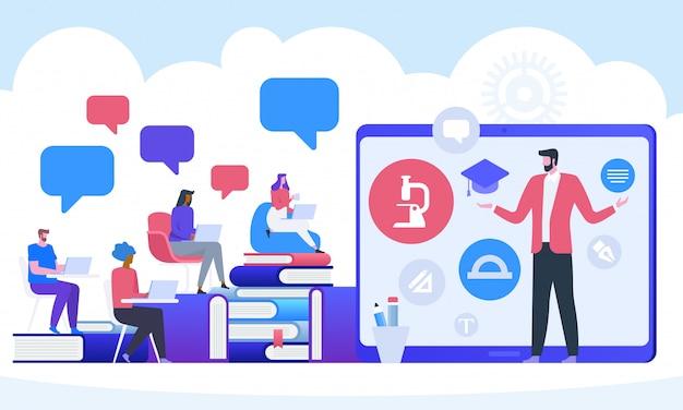 オンライン教育、ウェビナーまたはビデオセミナーのコンセプト