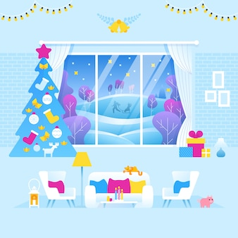 クリスマスと新年に装飾されたリビングルームのインテリア