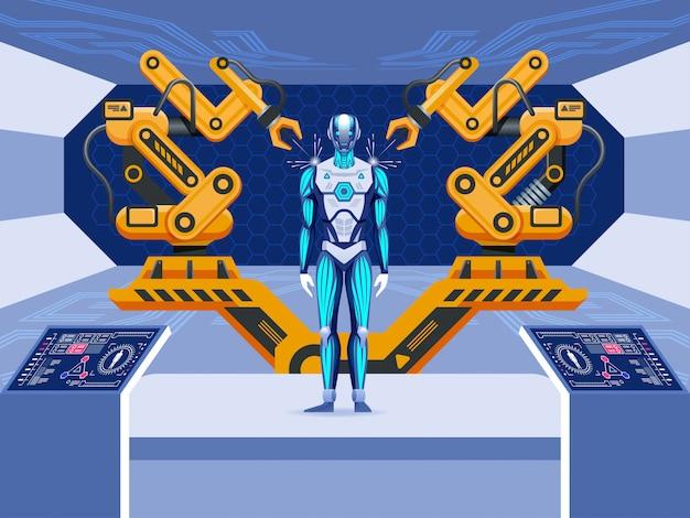 Промышленная автоматизация с роботизированной производственной линией и сборкой механического оружия.