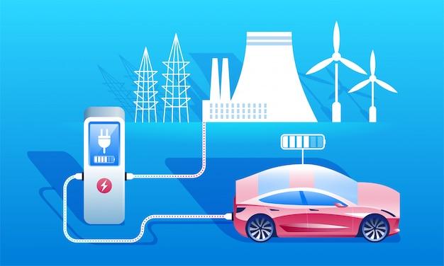 環境にやさしい燃料コンセプト。電気自動車の充電ステーション。
