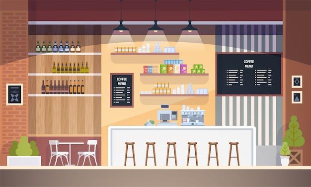 Пустой интерьер кафе. современное кафе