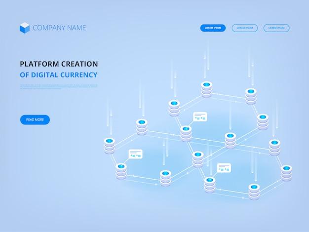 Криптовалюта и блокчейн, платформа создания баннерной целевой страницы цифровой валюты