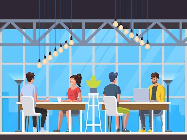 Современное кафе. интерьер ресторана. творческий центр коворкинг. университетский кампус. кофейный магазин