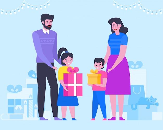 Большая счастливая семья с рождеством и новым годом