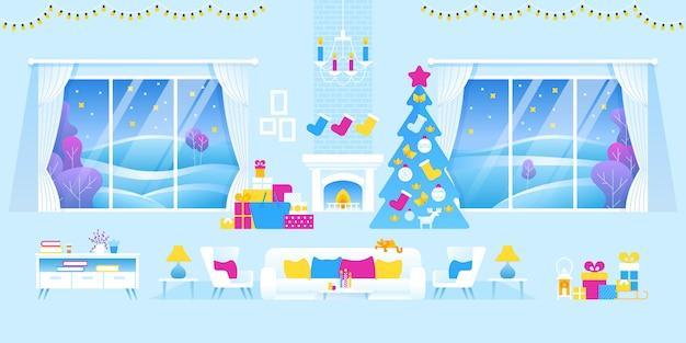 Интерьер гостиной оформлен на рождество и новый год