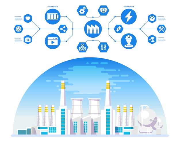 サイバーおよび物理システムアイコンのある工場