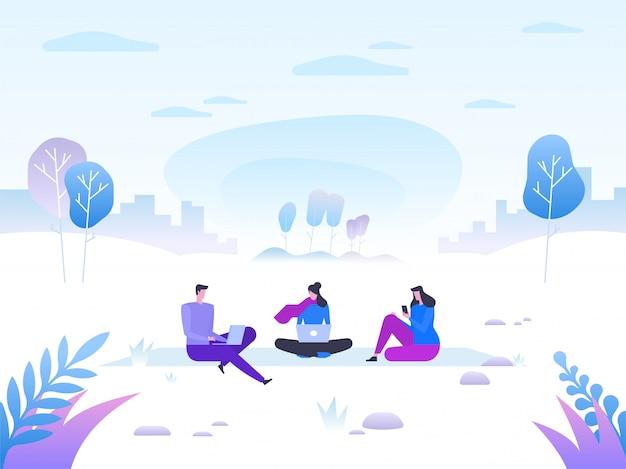 Зимний пейзаж со счастливыми людьми с устройствами