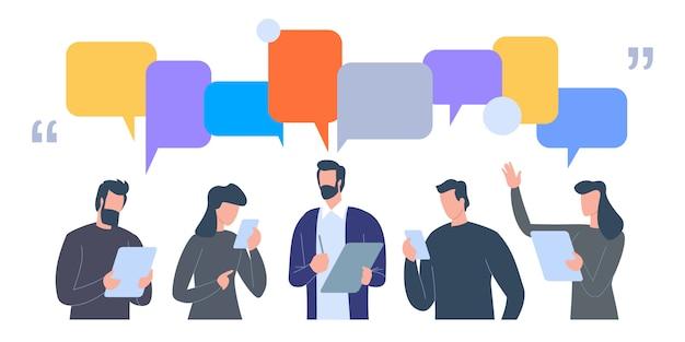 Бизнесмены обсуждают социальную сеть