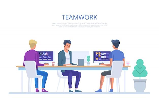 チームはオフィスで働きます。創造的なチームアイデアディスカッションの人々。作業環境のビジネスキャラクター。