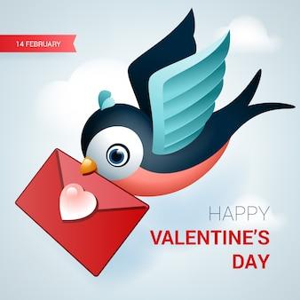 День святого валентина иллюстрации. птица с любовным письмом.