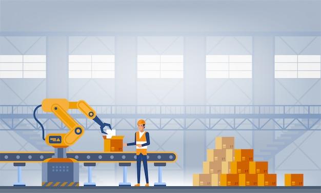 Промышленность, умная фабричная концепция.