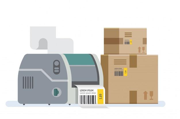 Принтер штрих-кода и коробки