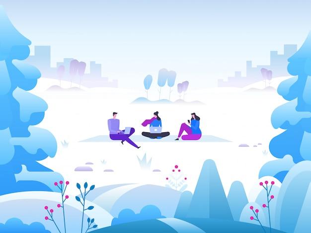 Зимний пейзаж с людьми