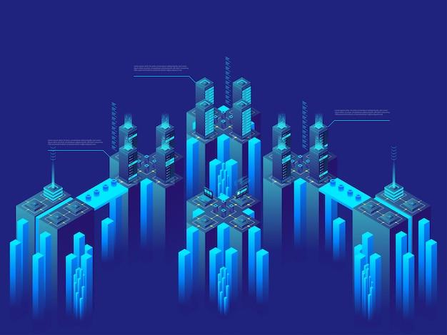 Концепция высоких технологий. суперкомпьютер. большой дата-центр.