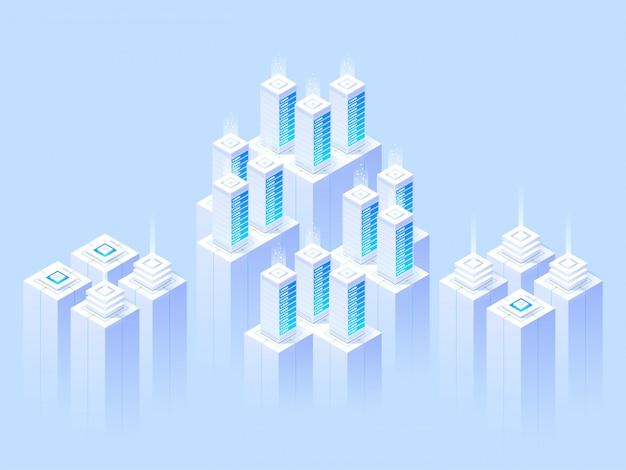 Большой центр обработки данных и облачные технологии хранения.