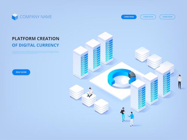 暗号通貨とブロックチェーン。デジタル通貨のプラットフォーム作成。ウェブサイトのヘッダー。ビジネス、分析、管理。