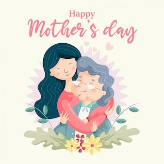 母の日-おばあちゃんを抱き締める