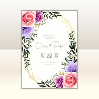 結婚式の招待カードのテンプレート、ビンテージスタイルの花の水彩画