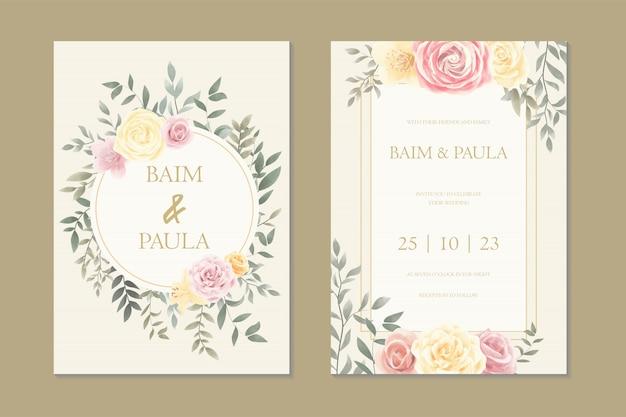 ビンテージ花結婚式招待状カードのテンプレート