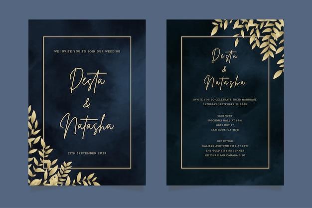 Элегантное роскошное темное акварельное свадебное приглашение с золотыми листьями