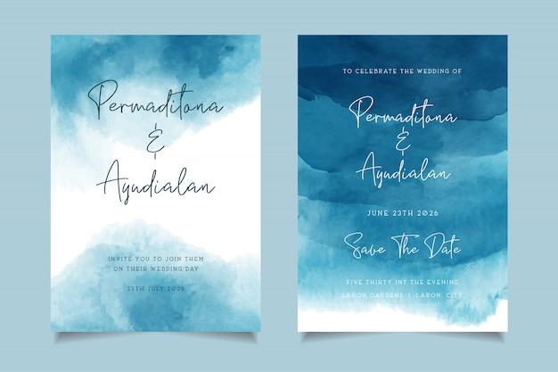 Синий морской акварельный дизайн свадебного приглашения
