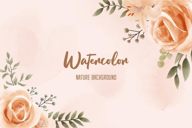 花とヴィンテージの自然水彩背景