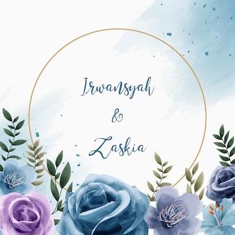 結婚式の招待カードの水彩花サークルフレーム