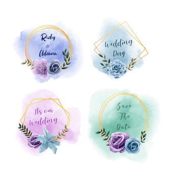 結婚式の招待カードテンプレート、美しい花の水彩ゴールデンフレームコレクションのセット