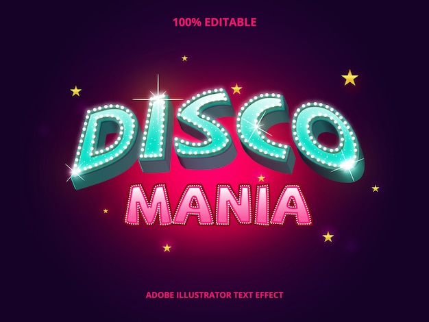 Текст диско, редактируемый эффект шрифта