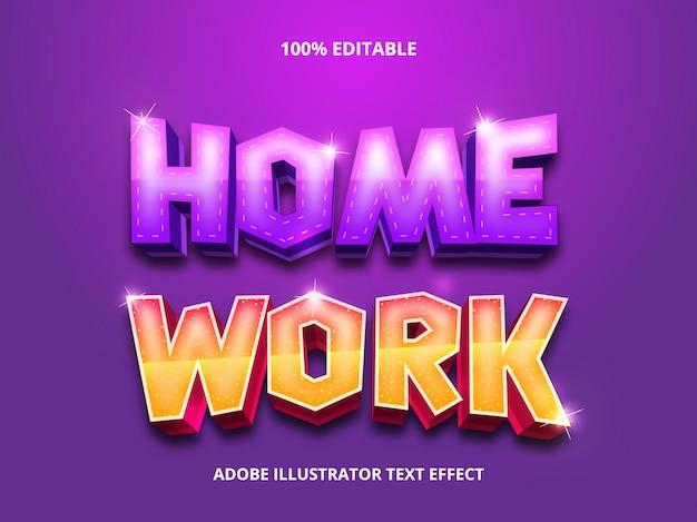 Редактируемый эффект шрифта - домашний рабочий текст