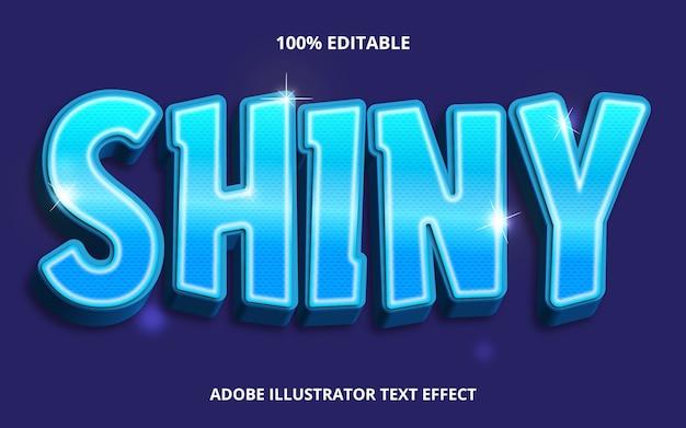 Редактируемый текстовый эффект - синий блестящий стиль