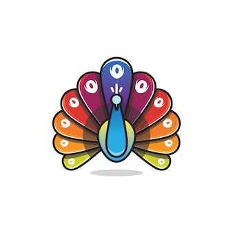 Красочный дизайн логотипа павлина
