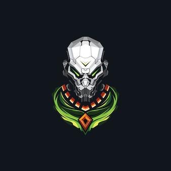 Дизайн логотипа головы робота киберспорта