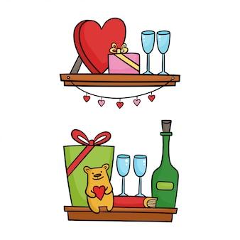 デザインのバレンタインの日のアイコンが付いている棚。漫画の実例