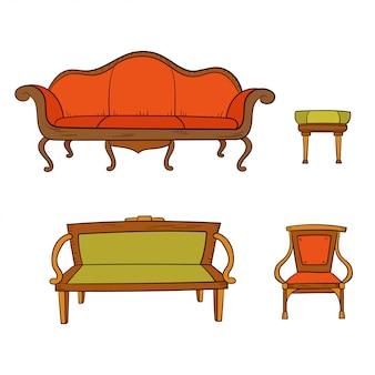Антикварная мебель набор стул, диван, диван, стул изолированы. рисование линий.