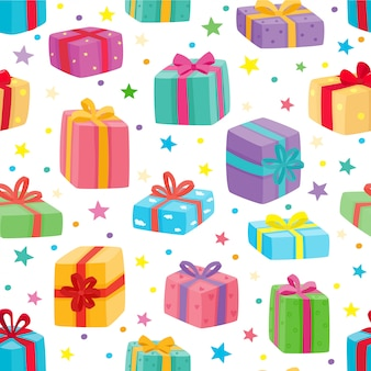 シームレスパターンを提示します。クリスマス、誕生日、白で隔離されるバレンタインデーの漫画ギフトのイラスト