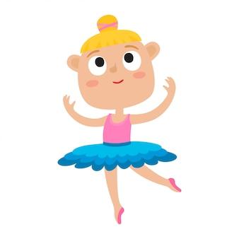 少女ダンサーの漫画イラスト。分離された緑のチュチュとポワントシューズで踊るかわいいバレエダンサーの女の子