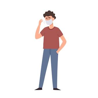 白で隔離防護フェイス防塵マスクの男のイラスト。都市の大気汚染、空中伝染病、コロナウイルスからの保護を身に着けているストリートファッション男。