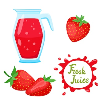 漫画明るいイチゴと白で隔離されるジュースと水差し。