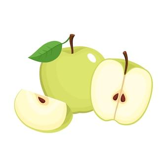 カラフルな半分、スライス、ジューシーなりんごのセグメントの明るいイラスト。白い背景の上の新鮮な漫画りんご。